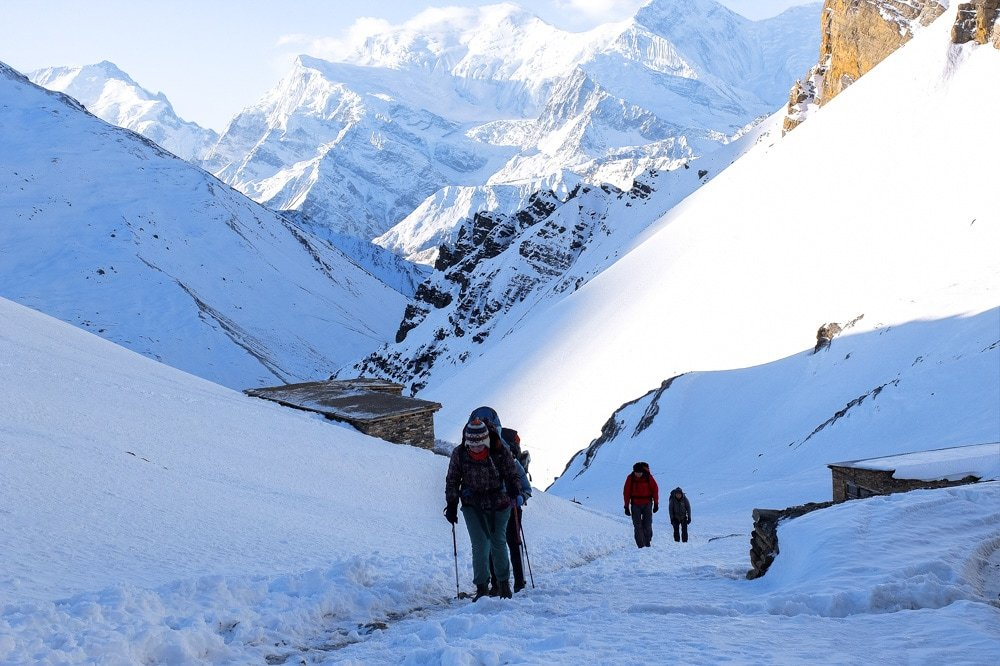 Trekking to High Camp on Annapurna Circuit