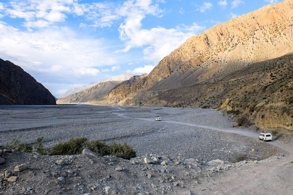 Vast plains on the way to Jomsom