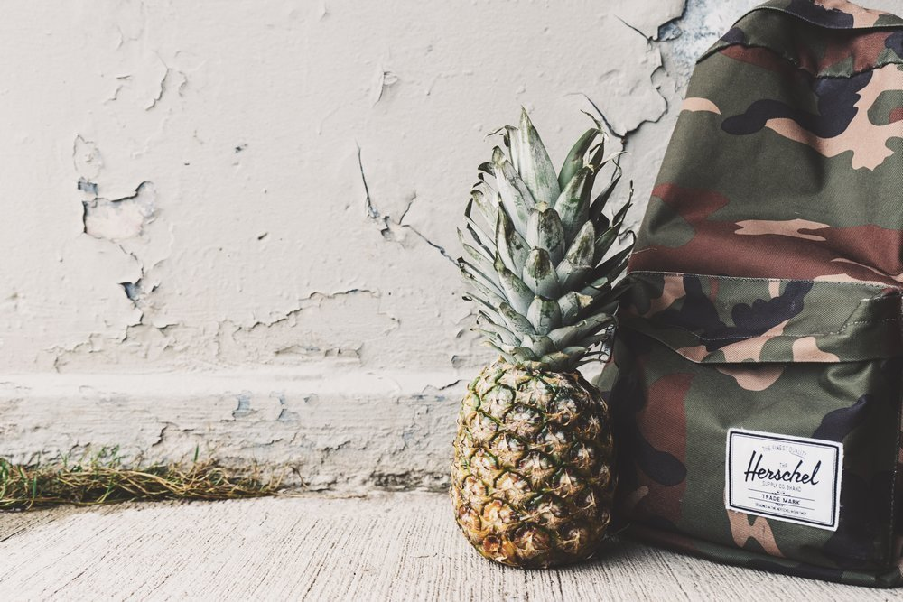 A backpack and a pineapple