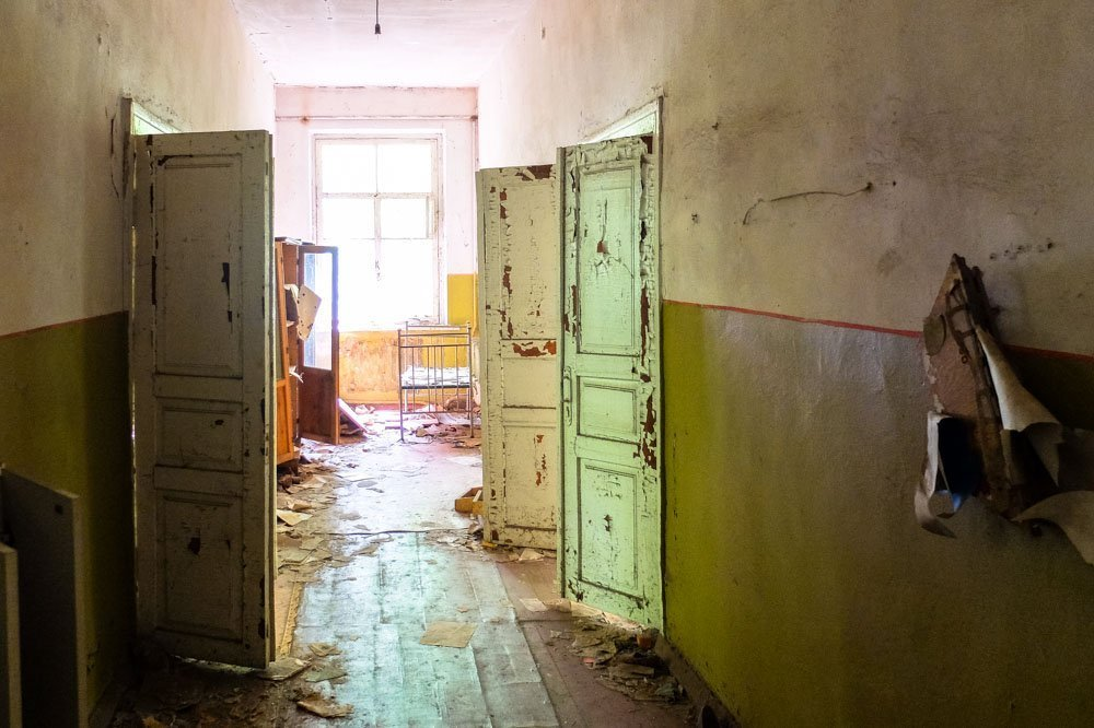 A corridor of an abandoned kindergarten