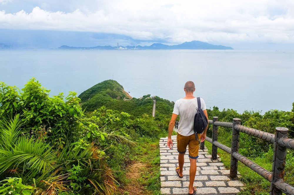 A man walking the Cheung Chau Hike
