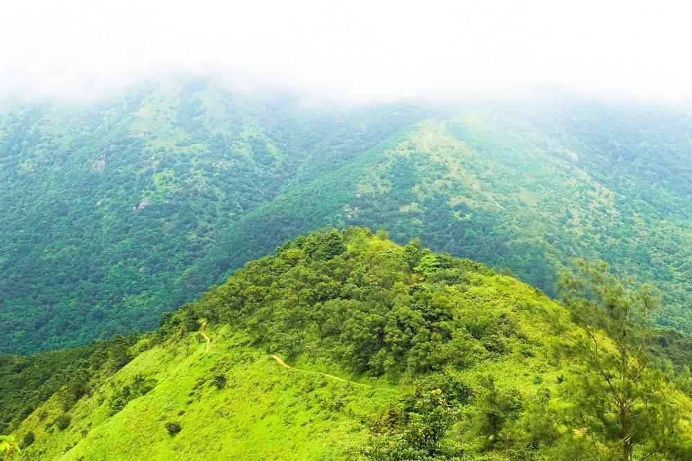 Green mountains on Lantau Island