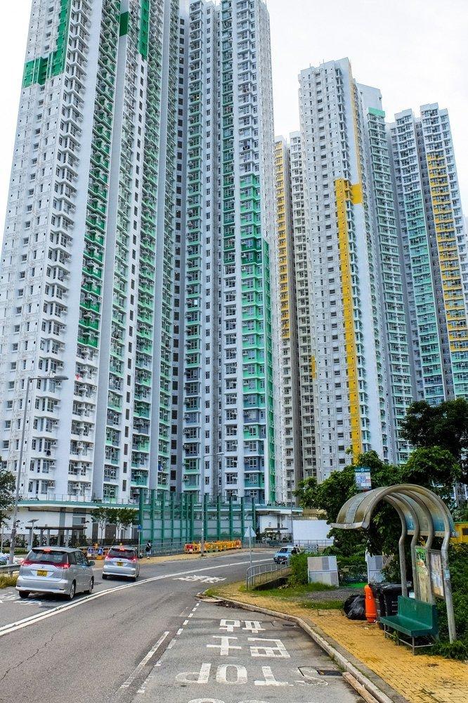 Huge apartment blocks on Lantau Island
