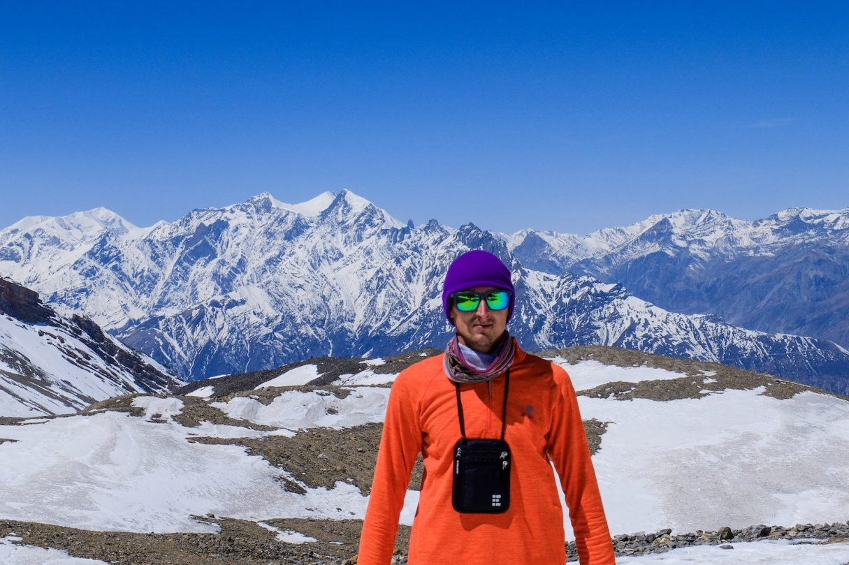 Kaspars in Nepal wearing travel neck wallet - Best neck wallet