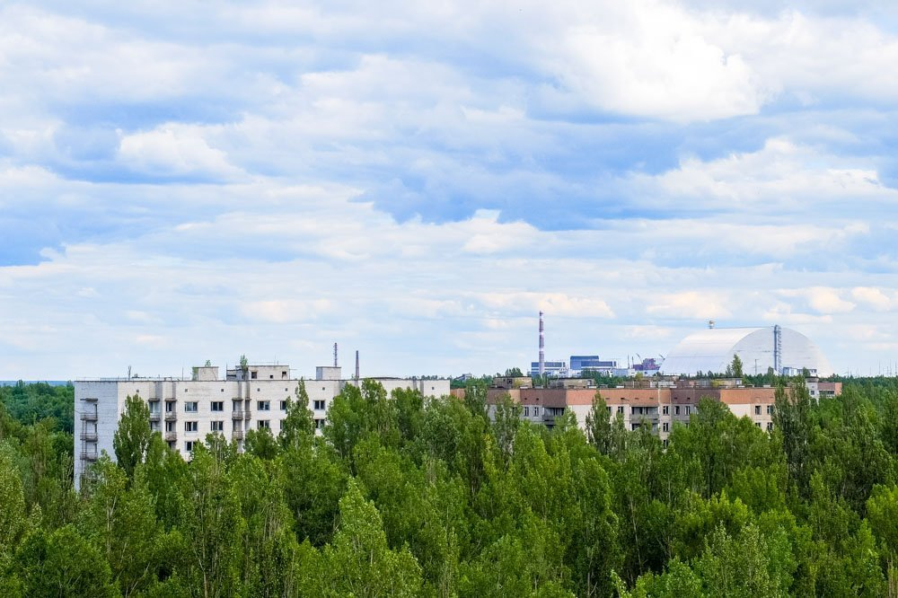 Reactor 4 as seen from Pripyat