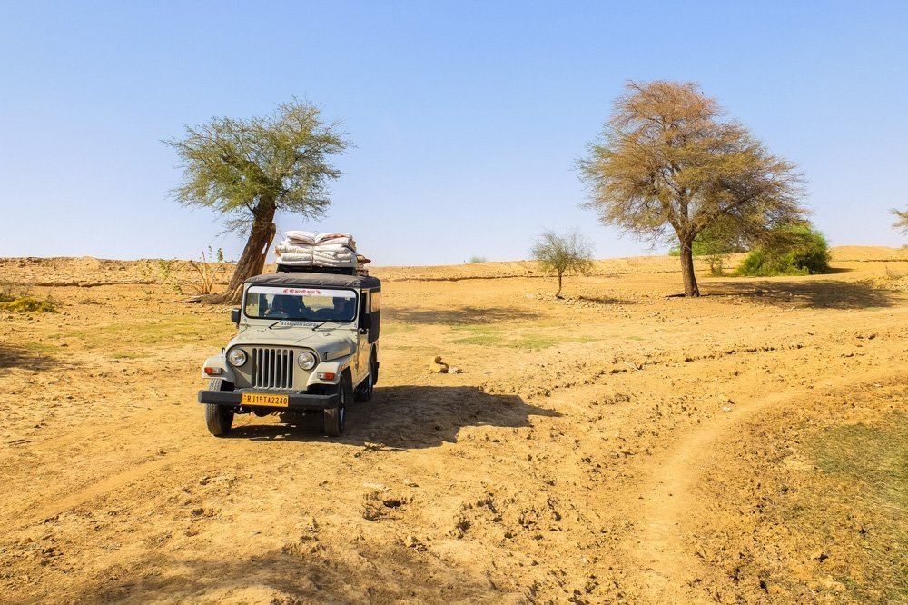 Jeep in the desert in India