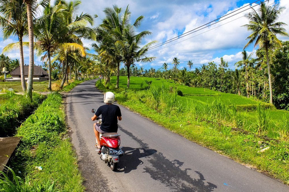 Riding a scooter in Bali, near Ubud