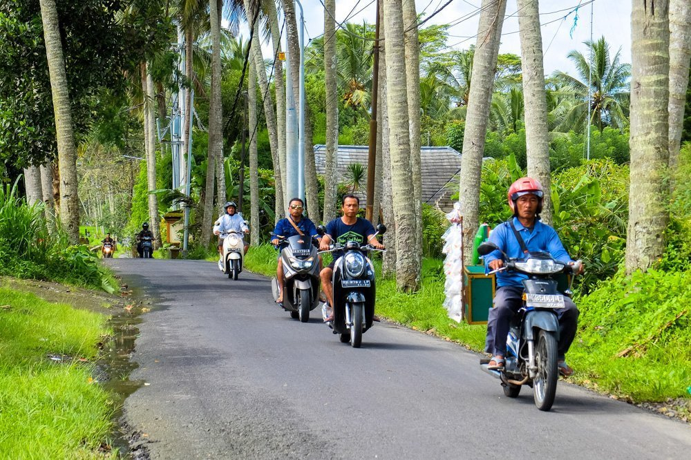 Scooter drivers in Bali