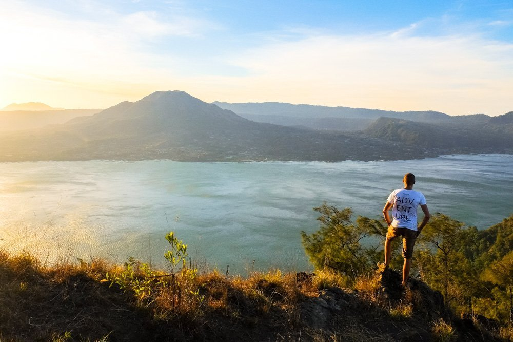 Kaspars on a hike in Bali, near Batur lake