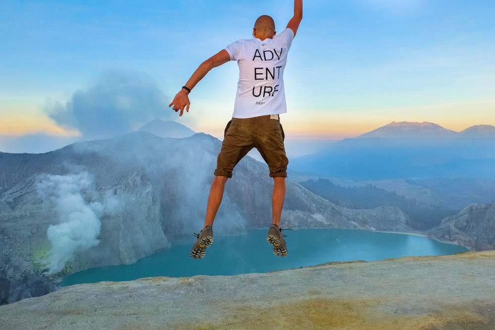 Jumping wearing Prabos AMPATO GTX hiking shoes in Java, Indonesia