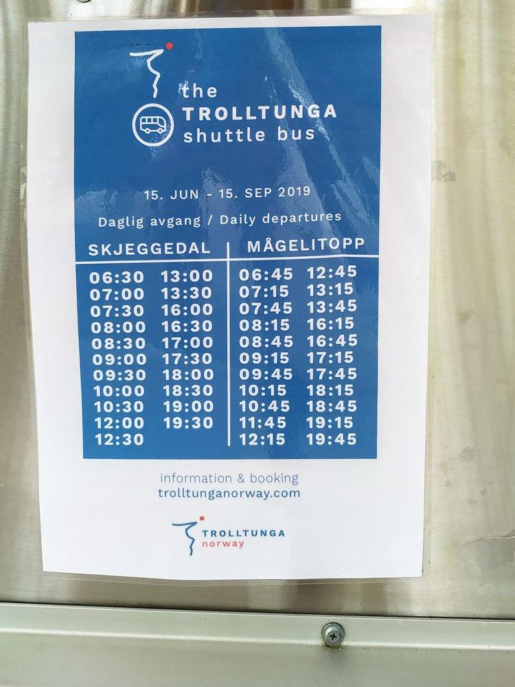 Skjeggedal to Magelitopp timetable