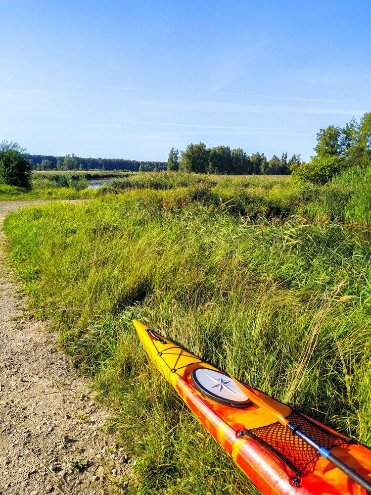 Kayak on the grass