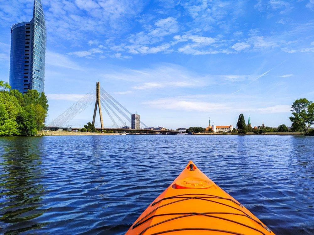 Kayaking in Riga near Swedbank