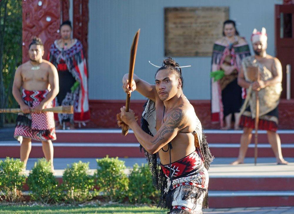 Maori warrior in Rotorua, New Zealand