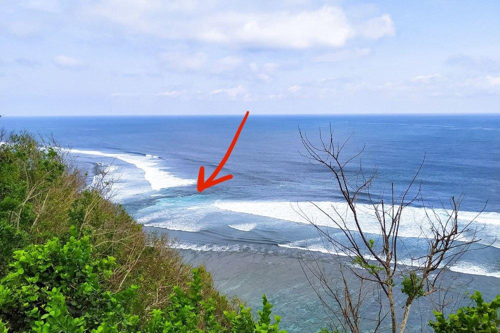 Rip current in Bali