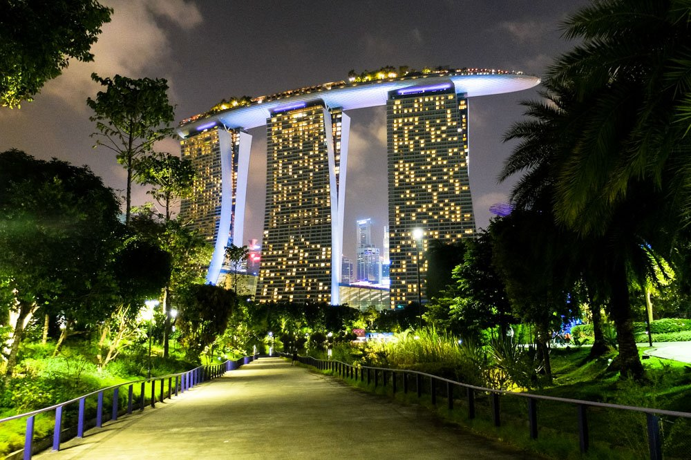 Gardens by the Bay park in the evening