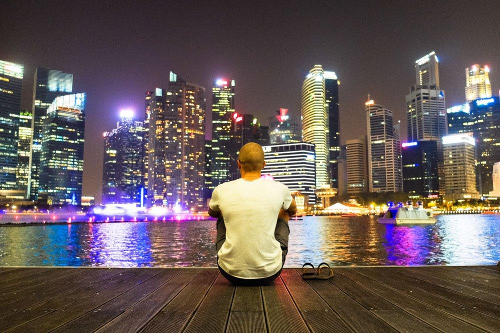 Watching evening light show at Marina Bay Sands, Singapore