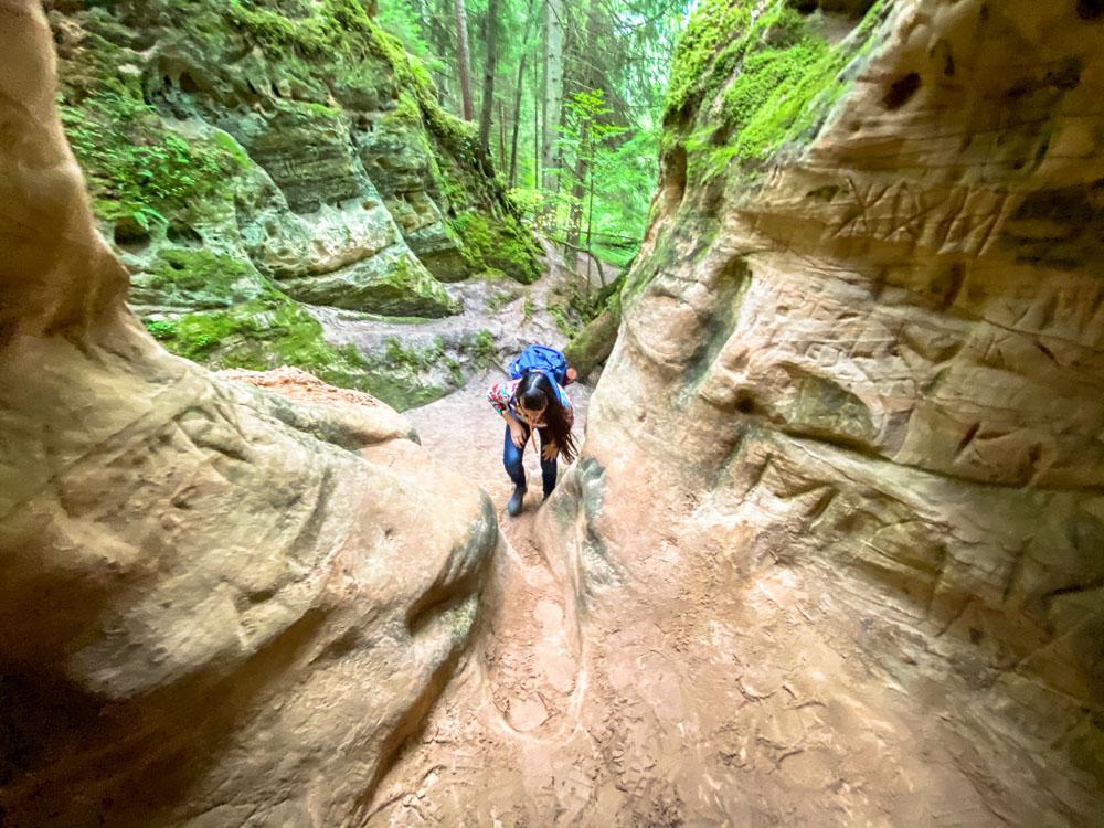 Cave near Līču-Laņģu Sandstone Cliffs