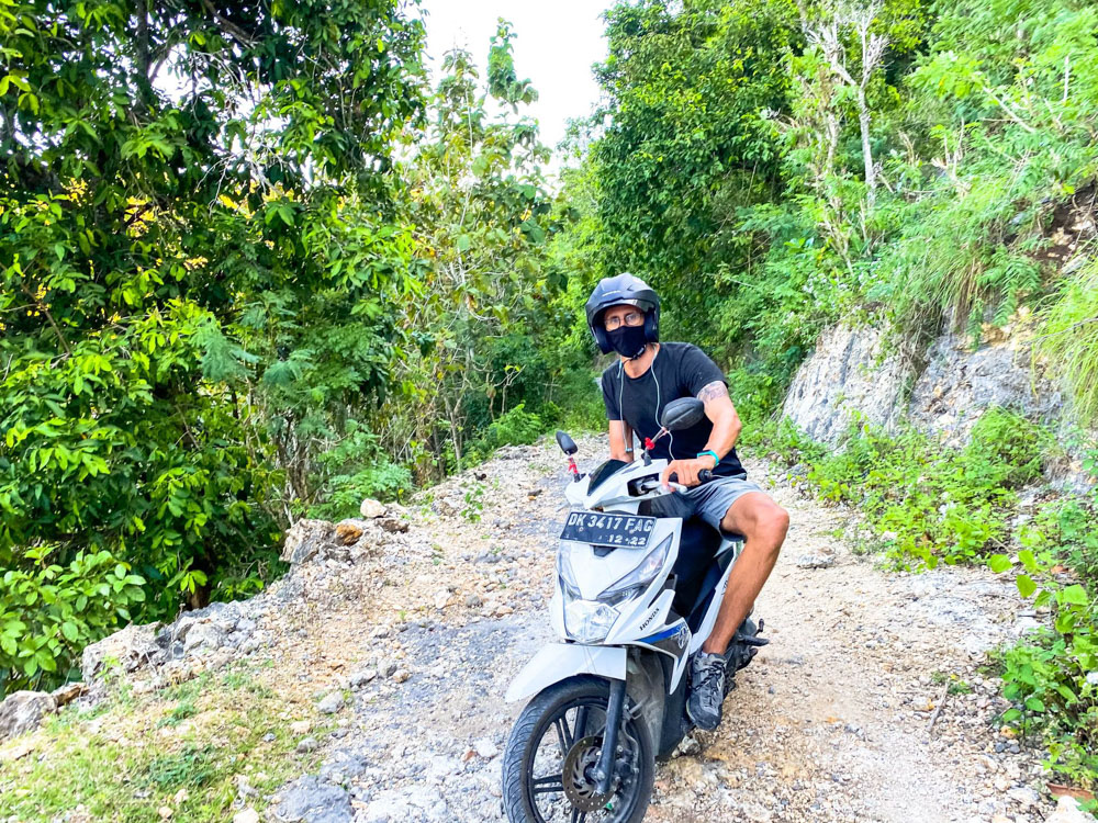 Driving a scooter in Nusa Penida