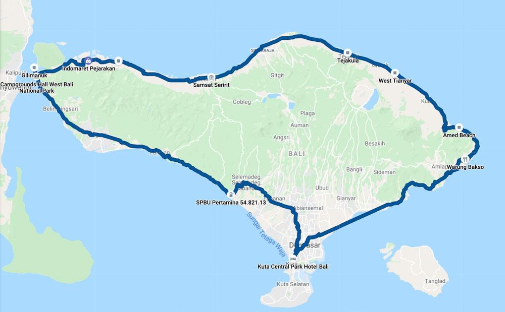 Driving around Bali - route