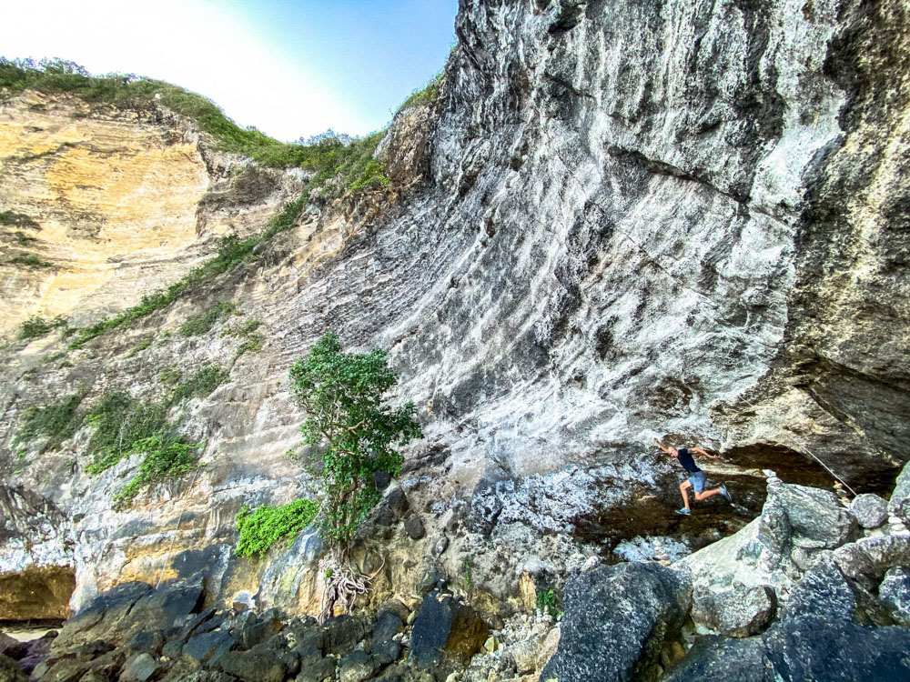 Jumping next to a cave on Nusa Penida
