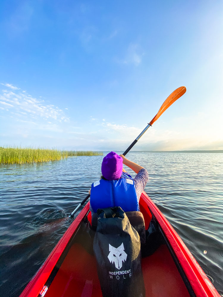 Kayaking on a lake in Riga, Latvia