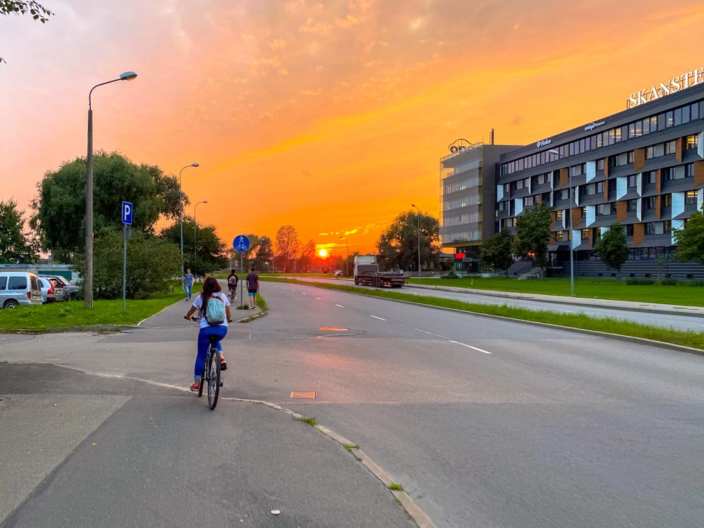 Beautiful sunset in Riga, Latvia
