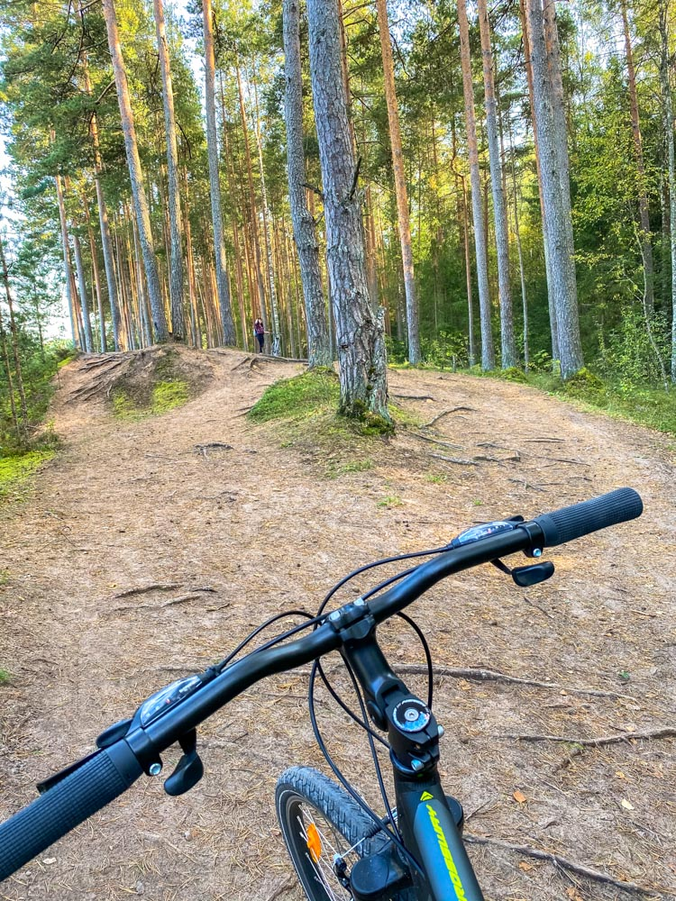 Bicycle on the trail in Ogre Blue Hills park