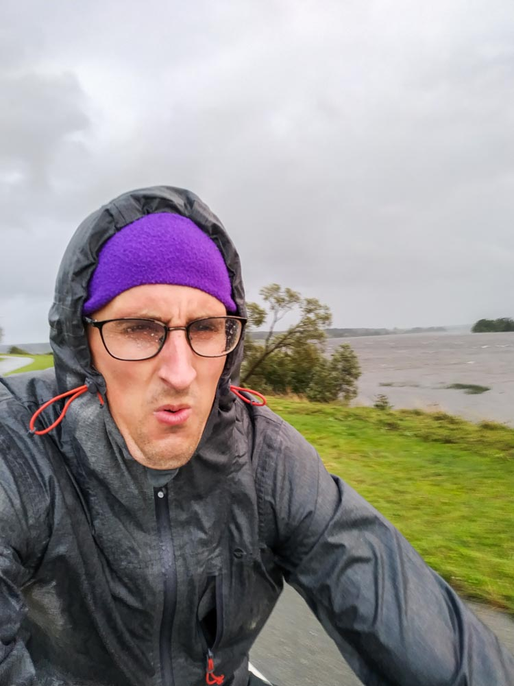 Cycling in storm in Riga