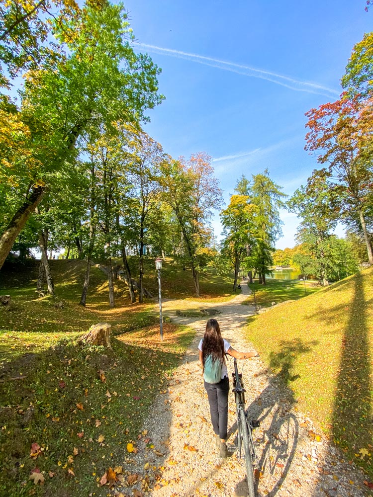 Cycling in the park in Cesis