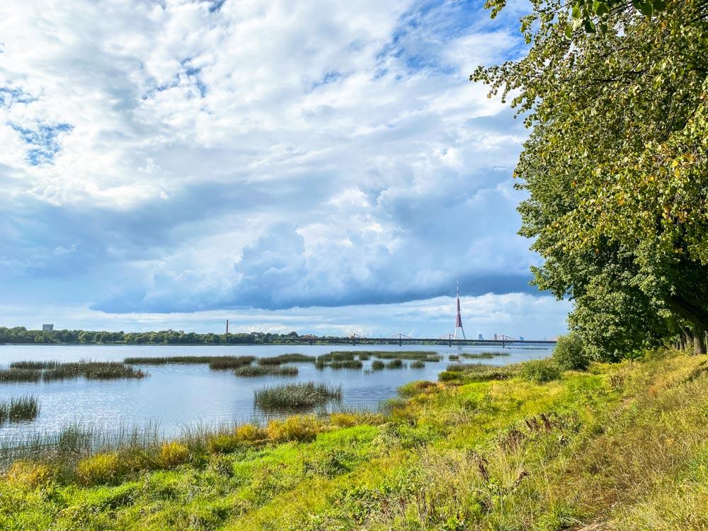 Cycling next to river Daugava