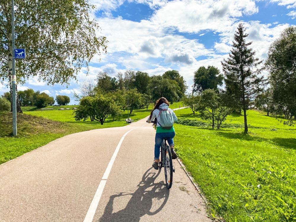 Cycling on Daugava promenade in Riga