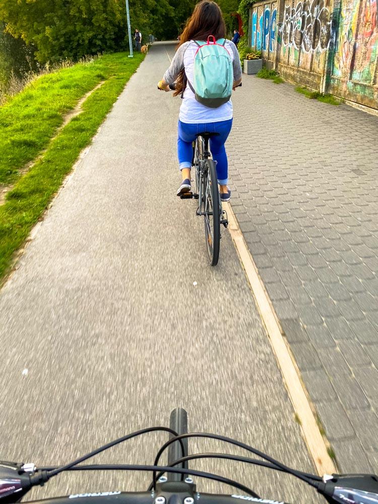 Cycling to Riga on Daugava promenade