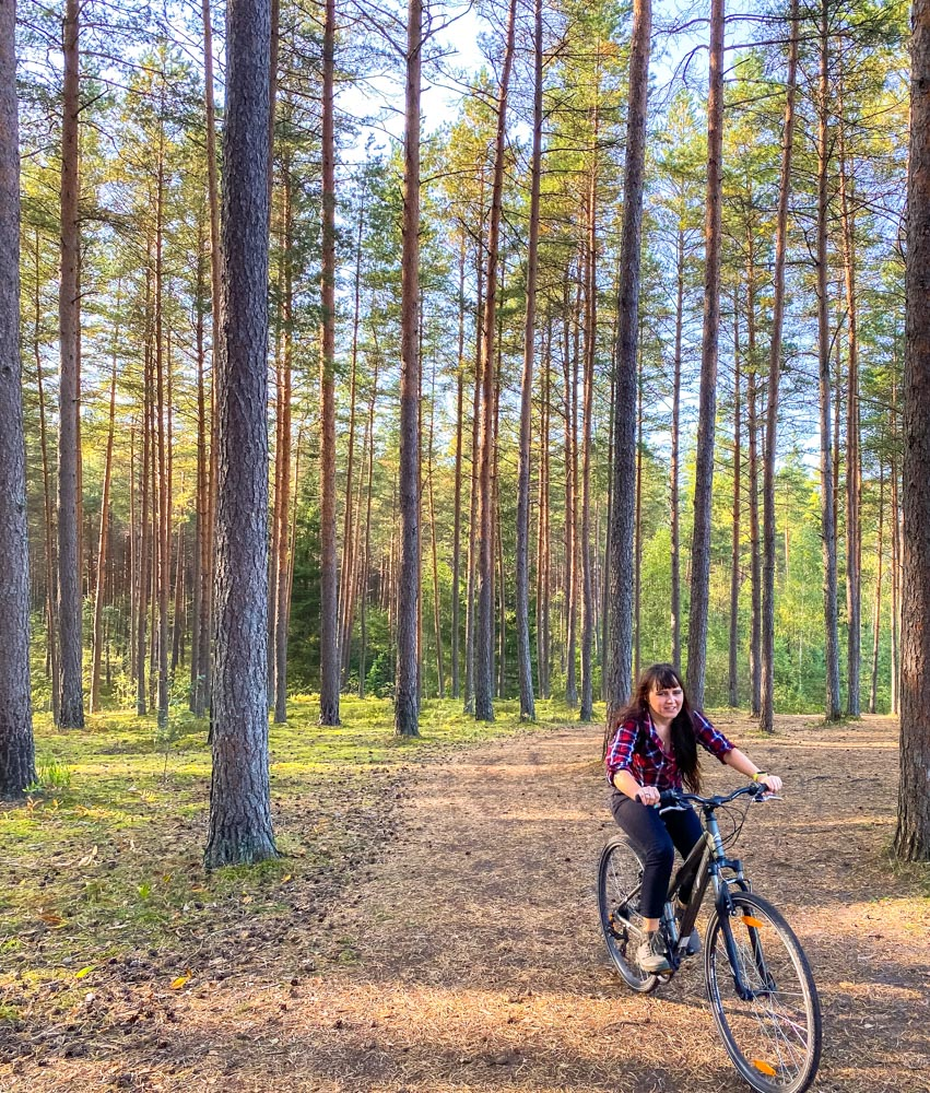 Girl cycling in Ogre Blue Hills park