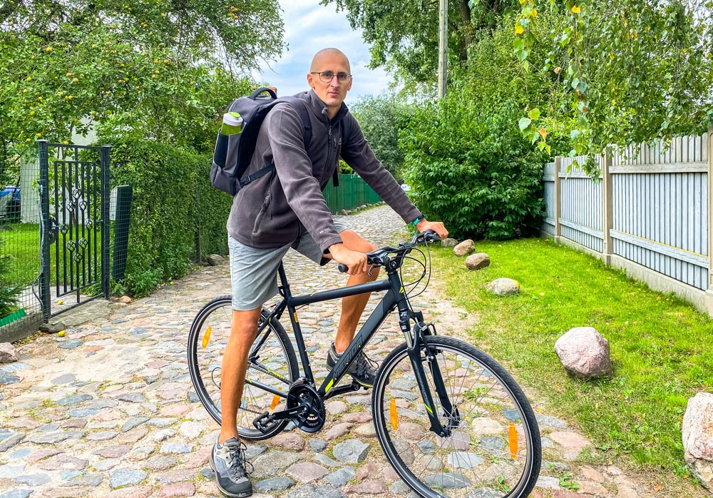 Kaspars on a bicycle