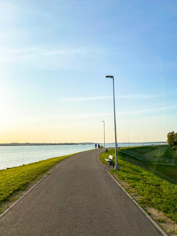 Riga Hydroelectric Power Plant Bike Path before sunset