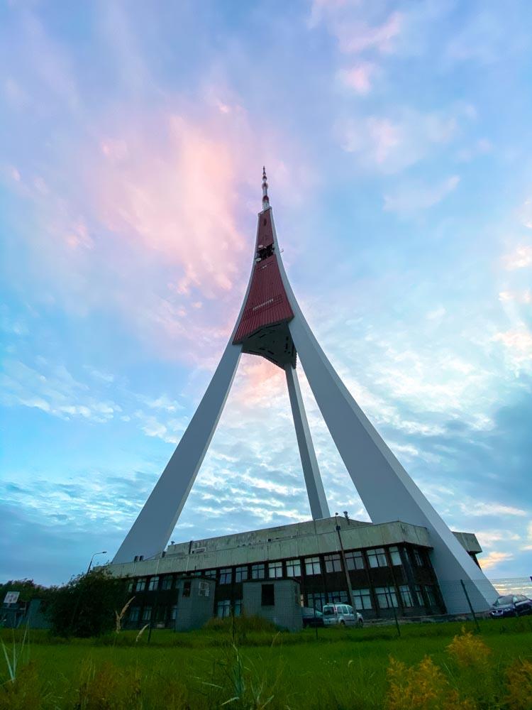 Riga TV tower from below