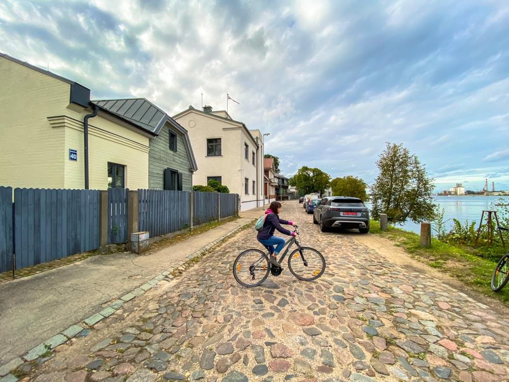 The Balasta dambis street, Kipsala island