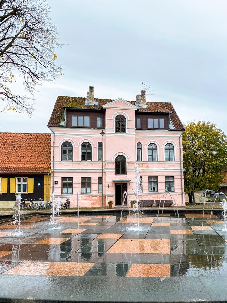 A pink house in Kuldiga, Latvia