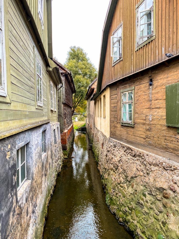 Narrow river in Kuldiga, Latvia