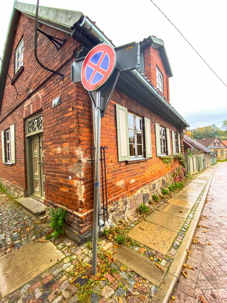 Old red building in Kuldiga, Latvia