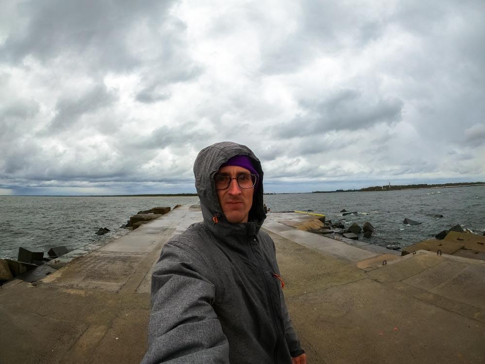 Standing on Mangalsala Pier in Riga