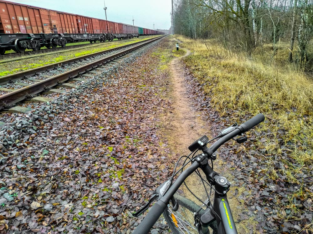 Cycling next to railroad