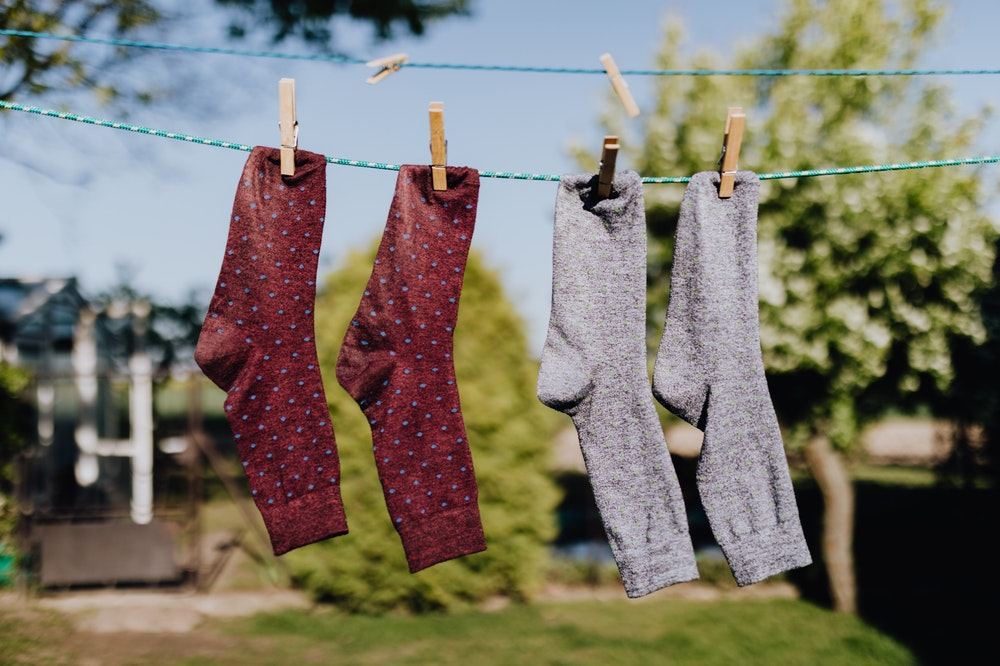 Socks drying on the clothesline