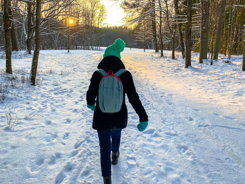Young girl on a winter hike