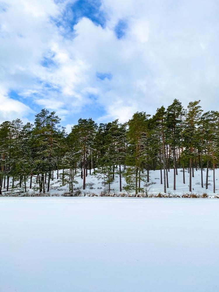 Frozen lake in Latvia