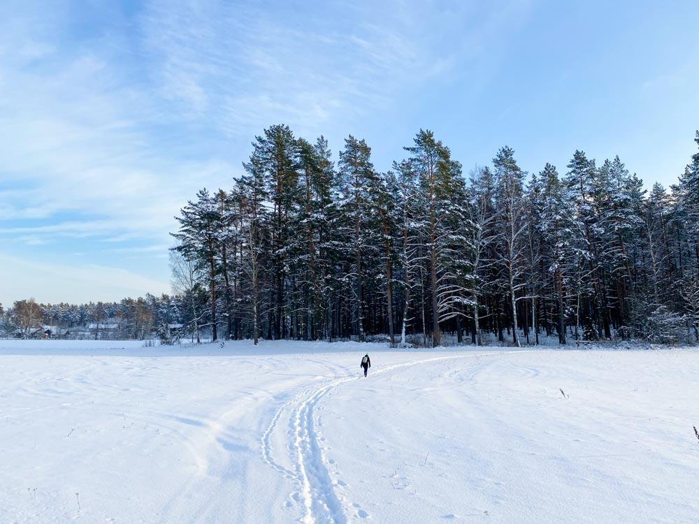 Walking across the field in winter
