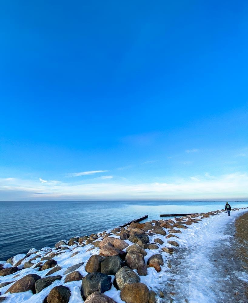Walking by the beach in winter