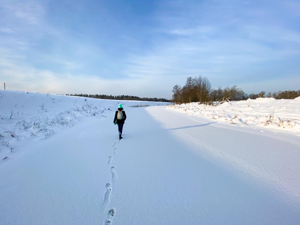 Walking on a frozen river