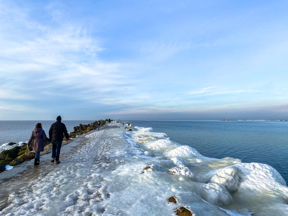 Walking on the Western breakwater
